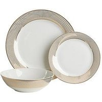 Product photograph showing Waterside Gold Band 12-piece Dinner Set