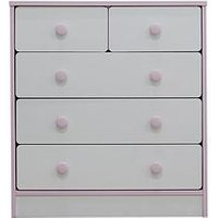 Product photograph showing Peyton Kids 3 2 Drawer Chest - White Pink