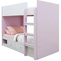 image-Peyton Storage Bunk Bed With Mattress Options (Buy And Save!) - White/Pink - Bunk Bed With Premium Mattress