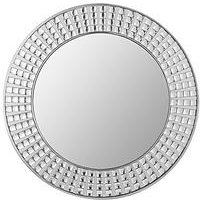 Product photograph showing Large Diamante Effect Round Mirror