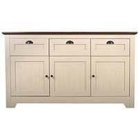 Product photograph showing Devon Large Sideboard - Ivory Walnut Effect