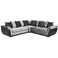 Product photograph showing Alexa Fabric And Faux Leather Scatter Back Corner Group Sofa