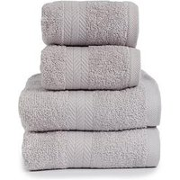 Product photograph showing Essentials Collection 4-piece 100 Cotton 450 Gsm Quick Dry Towel Bale - Light Grey