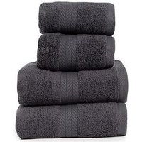 Product photograph showing Essentials Collection 4-piece 100 Cotton 450 Gsm Quick Dry Towel Bale - Dark Grey