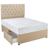 Product photograph showing Hush From Airsprung New Astbury Pillow Top Divan With Storage Options