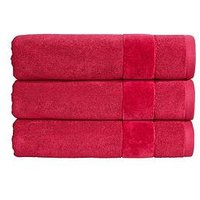 Product photograph showing Christy Prism Vibrant Plain Dye Turkish Cotton 550gsm Towel Range - Very Berry - Bath Towel