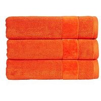 Product photograph showing Christy Prism Vibrant Turkish Cotton Towel Range - Orangeade - Bath Sheet