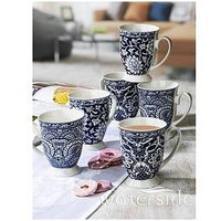 Product photograph showing Waterside Blue Floral Footed Mugs Set Of 6