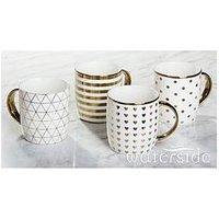 Product photograph showing Waterside Metallic Gold Mugs Ndash Set Of 4