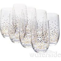 Product photograph showing Waterside Gold Star Hi-ball Glasses Ndash Set Of 8