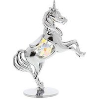 Product photograph showing Crystocraft Crystocraft Chrome Plated Unicorn Ornament With Crystal