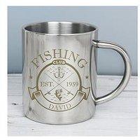 Product photograph showing Signature Gifts Personalised Fishing Club Enamel Mug