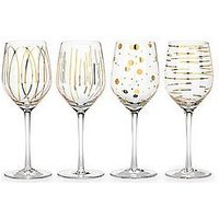 Product photograph showing Creative Tops Mikasa Cheers Metallic Gold Wine Glasses Ndash Set Of 4