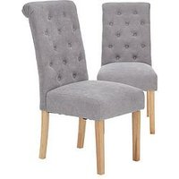 Product photograph showing Pair Of Fabric Scroll Back Dining Chairs - Grey