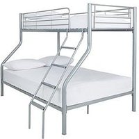 Product photograph showing Domino Metal Trio Bunk Bed - Bed Frame With 2 Standard Mattresses