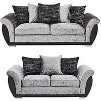Product photograph showing Alexa Fabric And Faux Leather 3 Seater 2 Seater Scatter Back Sofa Set Buy And Save