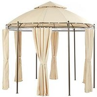 image-3M Round Steel Showerproof Gazebo With Sides