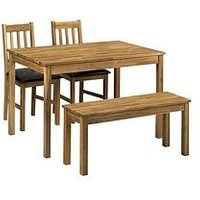Product photograph showing Julian Bowen Coxmoor 118 Cm Solid Oak Dining Table 2 Chairs Bench