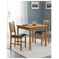 Product photograph showing Julian Bowen Coxmoor 75 X 75 Cm Square Solid Oak Dining Table 2 Chairs