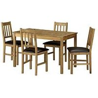 Product photograph showing Julian Bowen Coxmoor 118 Cm Solid Oak Dining Table 4 Chairs