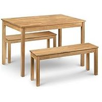 Product photograph showing Julian Bowen Coxmoor 118 Cm Solid Oak Dining Table 2 Benches