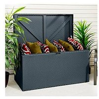 Product photograph showing Rowlinson Anthracite Outdoor Metal Storage Deck Box - 66 5 X 132 Cm