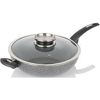Product photograph showing Tower Cerastone 28 Cm Wok With Infuser Lid