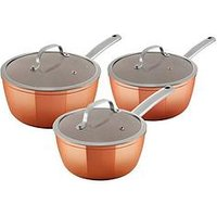 Product photograph showing Tower 3-piece Forged Saucepan Set Ndash Rose Gold