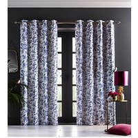 Product photograph showing Oasis Home Amelia Eyelet Curtains In Indigo