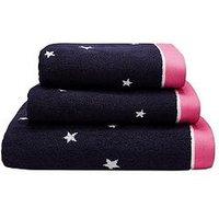 Product photograph showing Joules Navy Star 100 Cotton Bath Towel Range - Bath Towel