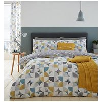 Product photograph showing Catherine Lansfield Retro Circles Duvet Cover Set