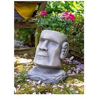 Product photograph showing La Hacienda Moai Head Planter - Large