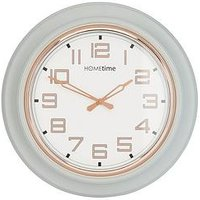 Product photograph showing Grey Rose Gold Round Wall Clock