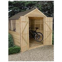 Product photograph showing Forest 7 X 7ft Apex Overlap Pressure Treated Shed With Double Doors