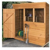Product photograph showing Forest 7 X 5ft Pent Overlap Dip Treated Shed With Double Doors