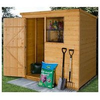 Product photograph showing Forest 6 X 4ft Premium Shiplap Pent Shed With 1 Window