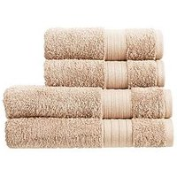 Product photograph showing Christy Monaco 4-piece Towel Bale Ndash Latte