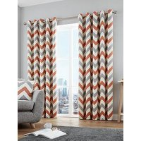Product photograph showing Fusion Chevron 100 Cotton Lined Eyelet Curtains