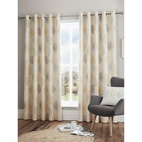 Product photograph showing Scandi Leaf Lined Eyelet Curtains