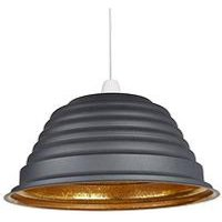 Product photograph showing Ridged Sanded Grey And Metallic Non-electric Light Shade