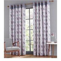 Product photograph showing Catherine Lansfield Retro Floral Eyelet Curtains
