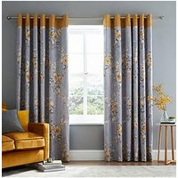 Product photograph showing Catherine Lansfield Canterbury Lined Eyelet Curtains - Ochre