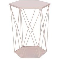 Product photograph showing Wire Storage Basket Table - Pink