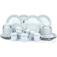 Product photograph showing Waterside Grey And White Droplet Print 32-piece Dinner Set