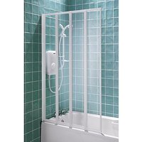 Product photograph showing Aqualux 4 Fold Bath Shower Screen White 140x84cm