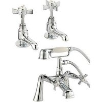 Product photograph showing Bristan Traditional Bathroom Basin Taps And Bath Shower Mixer - Chrome