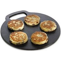 Product photograph showing Kitchencraft Round Cast Iron Baking Stone Cooking Griddle