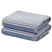 Product photograph showing Catherine Lansfield Textured Stripe Bath Towel Range Ndash Blue Grey - 2 Bath Towels