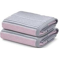 Product photograph showing Catherine Lansfield Textured Stripe Bath Towel Range Ndash Pink Grey - 2 Hand Towels