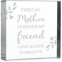 Product photograph showing The Personalised Memento Company Personalised First My Mother Forever My Friend Large Crystal Token